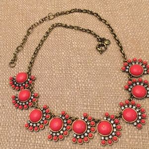 J. Crew coral & crystal statement piece necklace